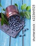 Freshly Blueberries In Metal...