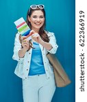 smiling woman holding ticket... | Shutterstock . vector #622366919