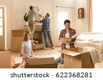 young women opening boxes with... | Shutterstock . vector #622368281