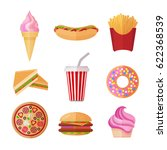 colorful fastfood colorful flat ... | Shutterstock .eps vector #622368539