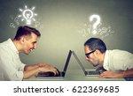 side profile two men using... | Shutterstock . vector #622369685