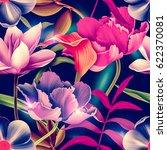 seamless tropical flower  plant ... | Shutterstock . vector #622370081