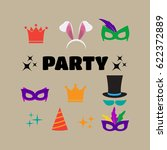 party birthday photo booth... | Shutterstock . vector #622372889