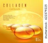 gold pill vitamins  gold gel... | Shutterstock .eps vector #622379225