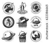 retro space  astronaut ... | Shutterstock .eps vector #622386665