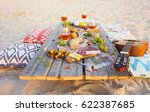 top view beach picnic table.... | Shutterstock . vector #622387685