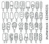 Popsicle Ice Cream Icons Set  ...