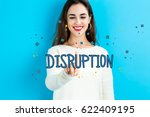 disruption text with young... | Shutterstock . vector #622409195