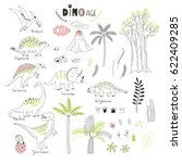 dinosaurs decorative hand drawn ... | Shutterstock .eps vector #622409285