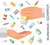concept illustration with hands ... | Shutterstock .eps vector #622409519