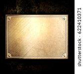 golden metal plate on concrete... | Shutterstock . vector #622410371