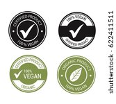 vegan product labels vector set  | Shutterstock .eps vector #622411511