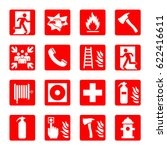 fire emergency icon set.... | Shutterstock .eps vector #622416611