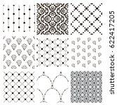 set of 9 black decorative... | Shutterstock .eps vector #622417205