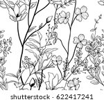 Vector Black Decorative Seamless Background Pattern with Drawn Flowers, Herbs, Plants, Branches. Doodle Style Greenery, Lush Foliage, Foliate. Vector Illustration. Pattern Swatch