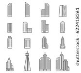 building icons . line vector... | Shutterstock .eps vector #622418261