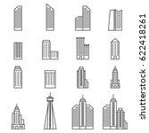 building icons . line vector... | Shutterstock .eps vector #622418261