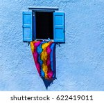 Blue Colored Open Window   Wit...