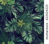 seamless hand drawn botanical... | Shutterstock . vector #622424225