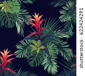 hand drawn seamless tropical... | Shutterstock . vector #622424291