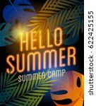 summer camp poster with neon... | Shutterstock .eps vector #622425155