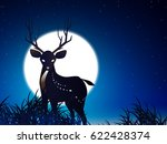 deer and moon and meadow | Shutterstock .eps vector #622428374
