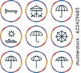 umbrella icons set. set of 9... | Shutterstock .eps vector #622429685
