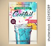 cocktail poster. watercolor  ... | Shutterstock .eps vector #622435289