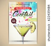 cocktail poster. watercolor  ... | Shutterstock .eps vector #622435484