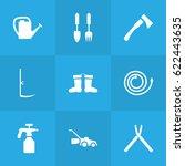 set of 9 farm icons set... | Shutterstock .eps vector #622443635