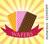 set of wafers. waffles logo... | Shutterstock .eps vector #622445399