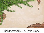 ivy on weathered wall... | Shutterstock .eps vector #622458527
