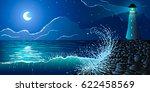 vector illustration. lighthouse ... | Shutterstock .eps vector #622458569