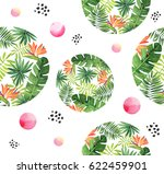 seamless floral watercolor... | Shutterstock . vector #622459901