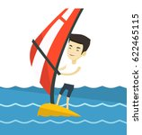 asian man windsurfing. young... | Shutterstock .eps vector #622465115
