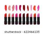 big lipstick set on white... | Shutterstock .eps vector #622466135