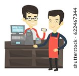 man paying wireless with... | Shutterstock .eps vector #622467344