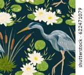 seamless pattern with heron... | Shutterstock .eps vector #622471079