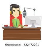 asian smiling radio dj in... | Shutterstock .eps vector #622472291