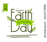 happy earth day poster or... | Shutterstock .eps vector #622472984