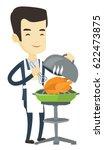 asian man cooking chicken on... | Shutterstock .eps vector #622473875