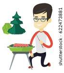 asian man cooking steak on... | Shutterstock .eps vector #622473881