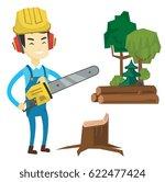 asian lumberjack holding... | Shutterstock .eps vector #622477424