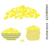 corn pile isolated  in bag and... | Shutterstock .eps vector #622480064