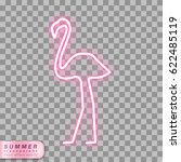 flamingo neon effect shape on... | Shutterstock .eps vector #622485119