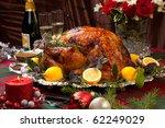 Garnished Roast Turkey On...