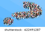 organized crowd standing in... | Shutterstock .eps vector #622491287