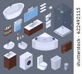 bathroom isometric interior...   Shutterstock .eps vector #622492115