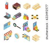 internet store isometric set... | Shutterstock .eps vector #622492577