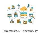 web hosting service line icons